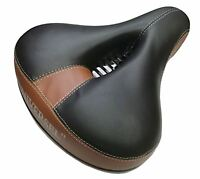 Wide Big Bum Saddle Seat Bicycle Cycling With Gel Comfort & Anti-Scratch Brown
