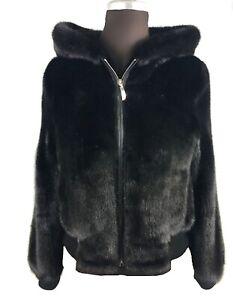 Meravigliosa pelliccia di visone Nero, con ampio cappuccio È bordo in volpe TG M