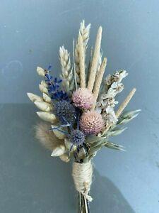RUSTIC Dried Flowers Buttonhole Pink Delphinium ,Lav, Thistles NOT ARRANGEMENT