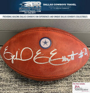 EZEKIEL ELLIOTT AUTOGRAPHED DALLAS COWBOYS BLUE STAR GAME BALL JSA COA INCLUDED