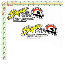 Marco simoncelli sticker supersic adesivi auto moto casco  print pvc 2 pz.