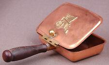 Vintage Copper Silent Butler Lidded Ashtray Coppercraft Brass Trim Wood Handle