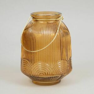LIGHT & LIVING PHARIS Hurricane Glass Lantern in BROWN (Large)