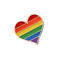 GAY PRIDE HEART Enamel Pin Badge Lapel Brooch Fashion Gift Jewellery LGBT PN93