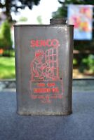 Vintage Senco Pure Raw Linseed Oil GEO Senn Co USA 1 Pint Can Great Graphic