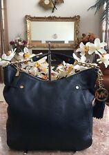 MICHAEL KORS Megan Chain Navy Pebbled Leather Tassel Hobo Bag EUC! MSRP $328