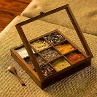 Spice Box Wooden Table Masala Dabba Containers Jars Kitchen Spoon Christmas Gift