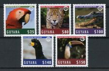 Guyana 2018 MNH Wildlife 5v Set Parrots Panther Toucan Wild Animals Birds Stamps