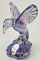Fenton, Hummingbird Figurine Violet Carnival Glass. EUC