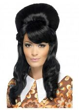 Black Beehive Wig 60's 70's Fancy Dress Costume Adult Priscilla Elvira Winehouse