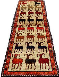 C 1930s ANTIQUE Runer Ram SUBJECT PRSIAN SHRAZ QASHKAI RUG 9.7X3.5 Feet