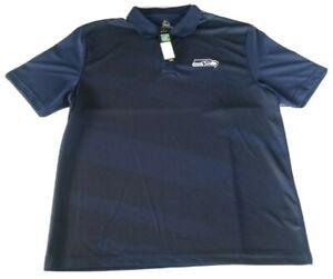 Seattle Seahawks Majestic Coolbase Men's Blue Polo Shirt Size XL NWT $55