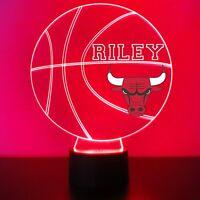 Chicago Bulls Night Light Personalized FREE NBA Basketball Light Up LED