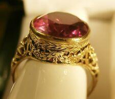 Stunning Vintage 14k Gold Flower Floral Filigree Huge Pinkish Red Stone Ring