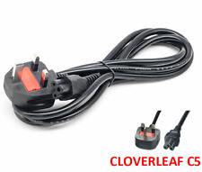 UK C5 Cloverleaf Clover Leaf Mains Power Cable Lead Plug for Laptop adapter 2M