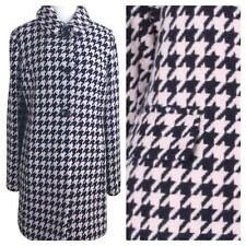 NWT Kate Spade Navy Pink Check Houndstooth Wool Notch Collar Coat M NEW $518
