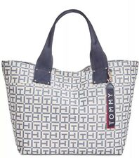 New tommy Hilfiger Woven Rugby Canvas Duffle Navy Gold bag striped tote logo