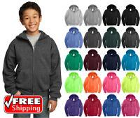 Port & Company PC90YZH Youth Fleece Full-Zip Hooded Sweatshirt Hoodie Boys Girls