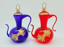Inge Glas Two Vintage Glass Teapots Blue & Red Christmas Ornament ~ Germany