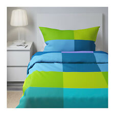 IKEA BRUNKRISSLA TWIN Duvet cover and pillowcase Blue Green BNWT