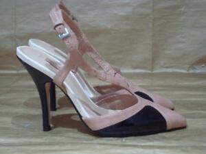 NEXT UK 3 1/2 BLACK AND BEIGE SLINGBACK POINTED TOE SHOES
