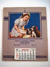 Adorable 1954 Ad Calendar w/ Picture of Girl Nurse Feeding Her Puppies *