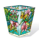 Hummingbird Orchard Tea Light Candle Holder AMIA Hand Painted Glass Pink Orchids