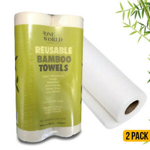 Bamboo Reusable Paper Towels 2 Pack 20 Sheets per Roll Natural Absorbent 29x28cm