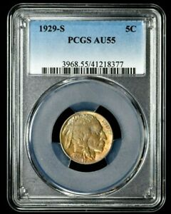1929-S Buffalo Nickel 5C PCGS AU55 (I-4550) 99c NO RESERVE  Witter Coin