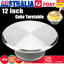"12"" Cake Turntable Revolving Cake Cake Decorating Stand Platform Aluminium AU"