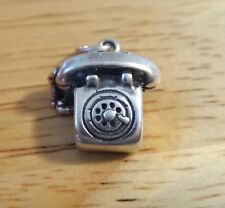 Sterling Silver 17x15mm Rotary Telephone Phone & Cord Charm