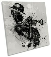 Abstract Woman Trumpet Jazz Picture CANVAS WALL ART Square Print Grey