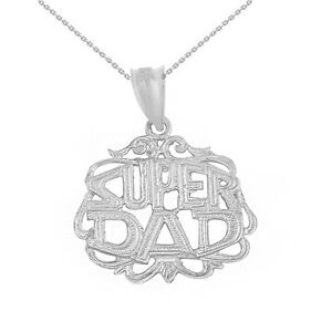 10k Solid White Gold Father's Day Super Dad Filigree Pendant Necklace