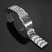 18/20/22/24mm Solid Stainless Steel Deployment Clasp Watch Strap Band Bracelet