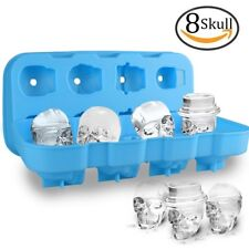 Calavera 3D Cubo de Hielo Molde con tapa, alimentos grado Silicona Flexible Cubo de hielo