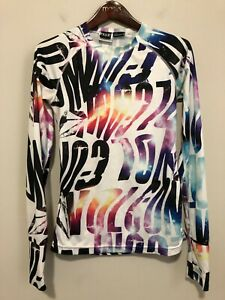 Volcom Women's Base Layer Top Abstract Print M Stretch Long Sleeve EUC