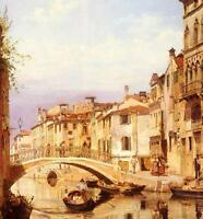 Oil painting cityscape of Venice A Gondola On A Venetian Backwater Canal canvas