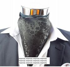 Men Wedding Formal Cravat Ascot Scrunch Self Neck Tie Swirl Flower Black