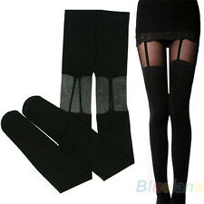 Stretchy Sheer Stockings Sweety Black Leggings Socks W/ Decorated Garters BD4U