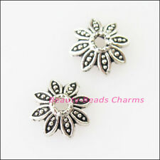 80Pcs Tibetan Silver Leaf - Flower End Bead Caps Connectors 7.5mm