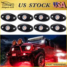 8 Pods Red Led Rock Lights Truck Offroad Atv Wheel 9-32V Under Car Body Light