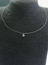 Italian Platinum Round Cut Diamond Solitaire Pendant Necklace .50Ct G-VS1 16""