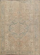 Antique MUTED Geometric Heriz Hariz Area Rug Hand-Knotted Oriental Carpet 9x11