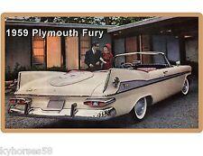 1959 Plymouth Fury 2 Door Convertible Auto Car  Refrigerator / Tool Box  Magnet