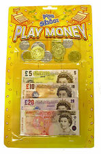CHILDRENS PLAY MONEY* NOTES AND COINS KIDS TOY PART BAG STERLING PRESCHOOL09378