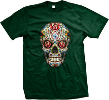 Painted Rose Sugar Skull Day Of The Dead Dia De Los Muertos Mens T-shirt