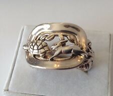 BARRY KIESELSTEIN SIGNED STERLING SILVER HARE AND TORTOISE RING