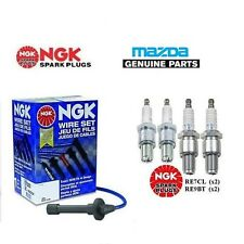 NGK SPARK PLUGS + SILICONE IGNITION LEAD SET - MAZDA RX8 (2003+)