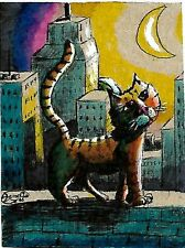 Jacob Landis Limited edition ACEO print /250 Kitty cat in the city buildings