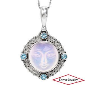 SAJEN Moonstone Blue Topaz Sterling Silver Designer Carved Pendant 10.1 Grams NR